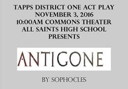 All Saints Hosts District One Act Play – November 2nd, 2016 @ 10:00am